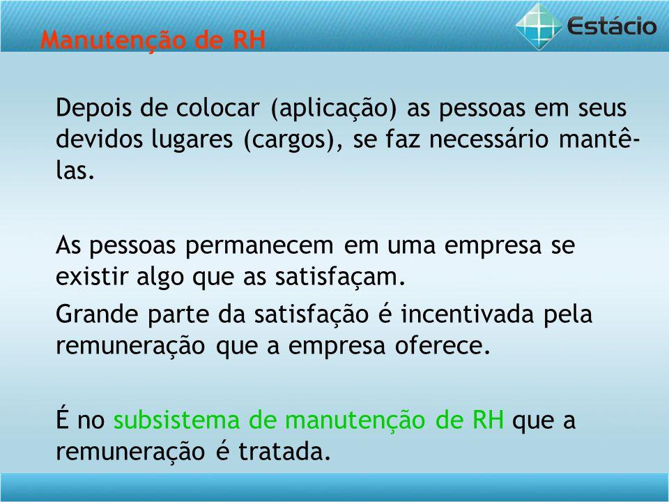 É no subsistema de manutenção de RH que a remuneração é tratada.