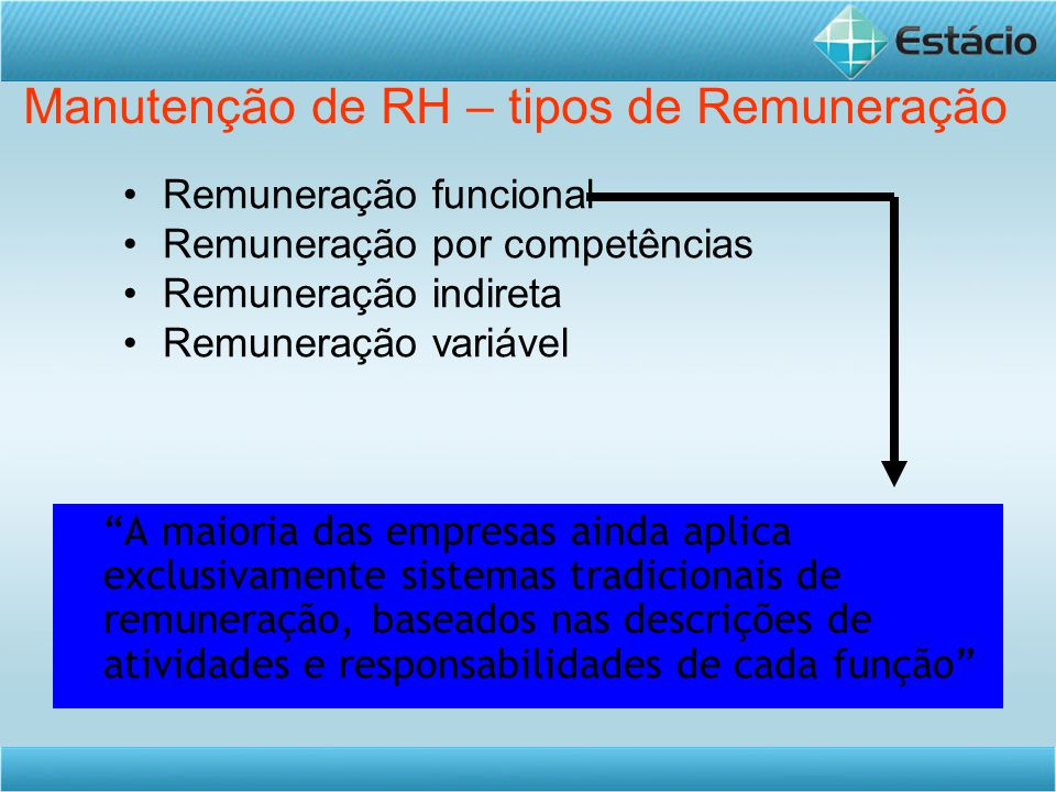 Manutenção de RH – tipos de Remuneração