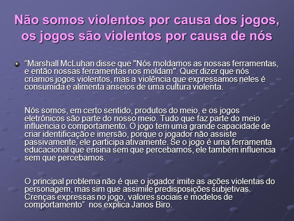 Não somos violentos por causa dos jogos, os jogos são violentos por causa de nós