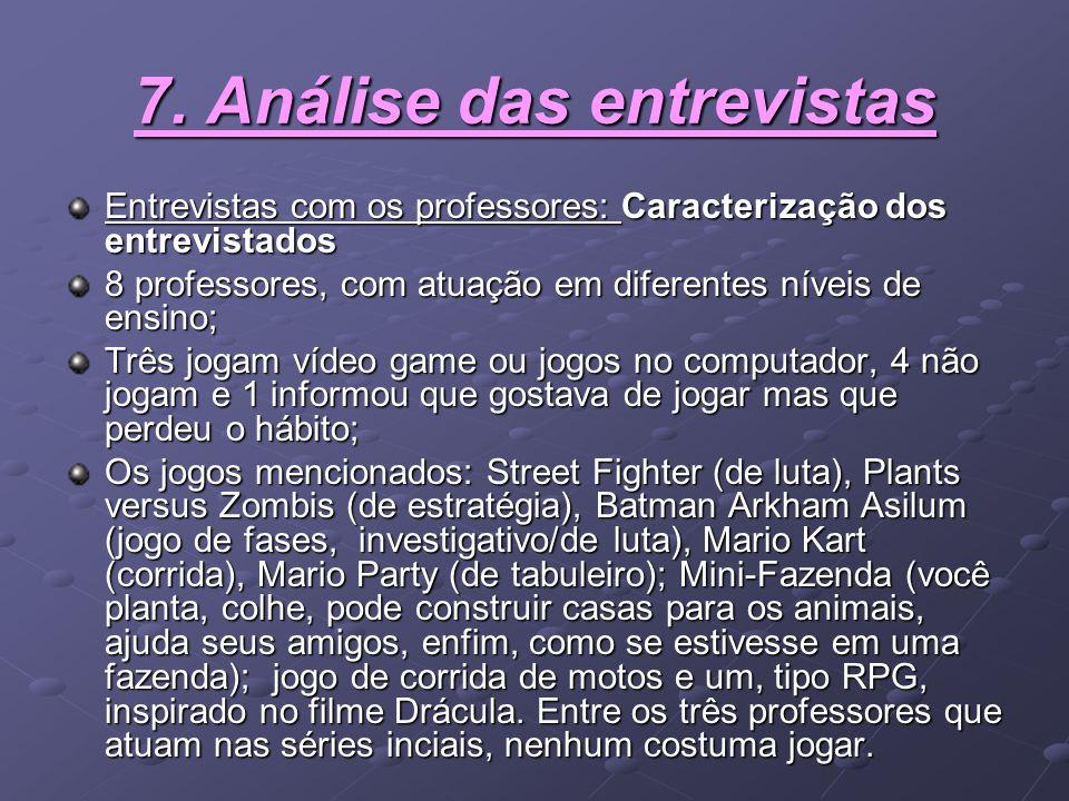 7. Análise das entrevistas