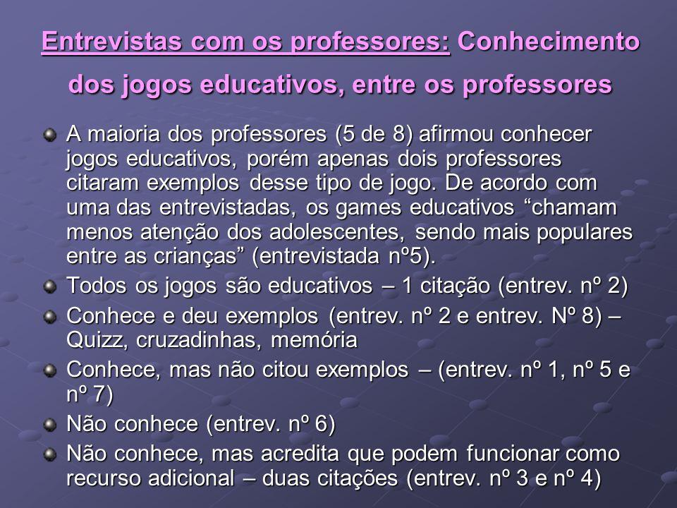 Entrevistas com os professores: Conhecimento dos jogos educativos, entre os professores