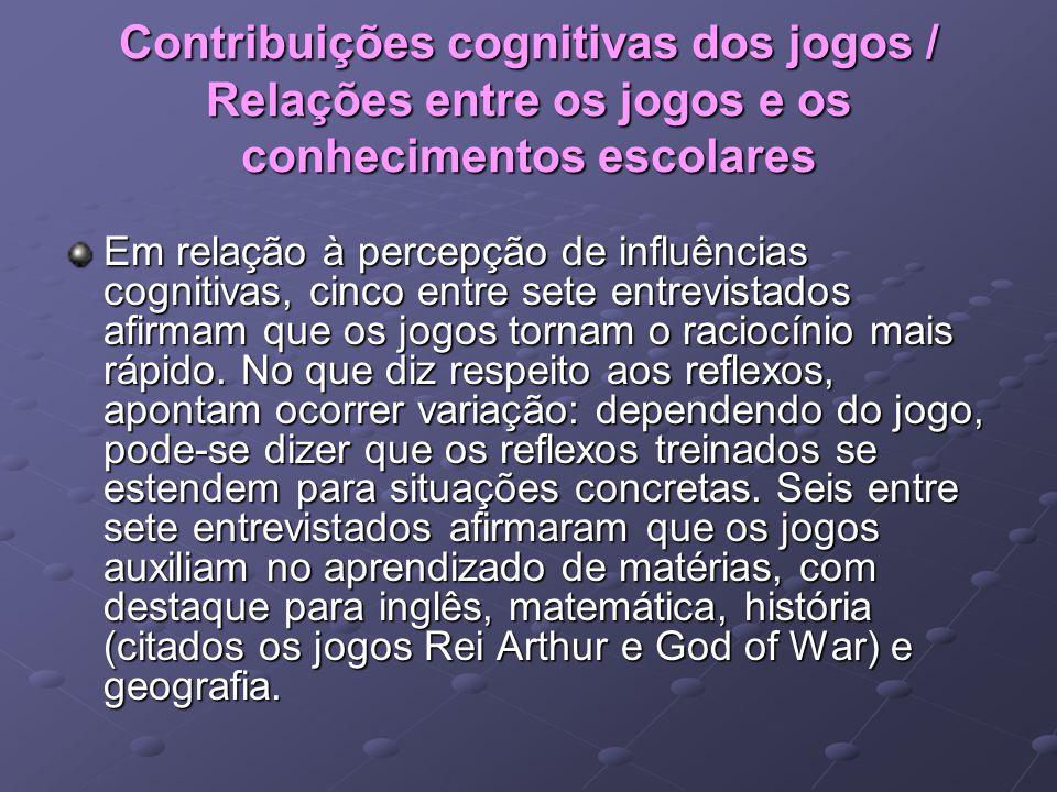 Contribuições cognitivas dos jogos / Relações entre os jogos e os conhecimentos escolares