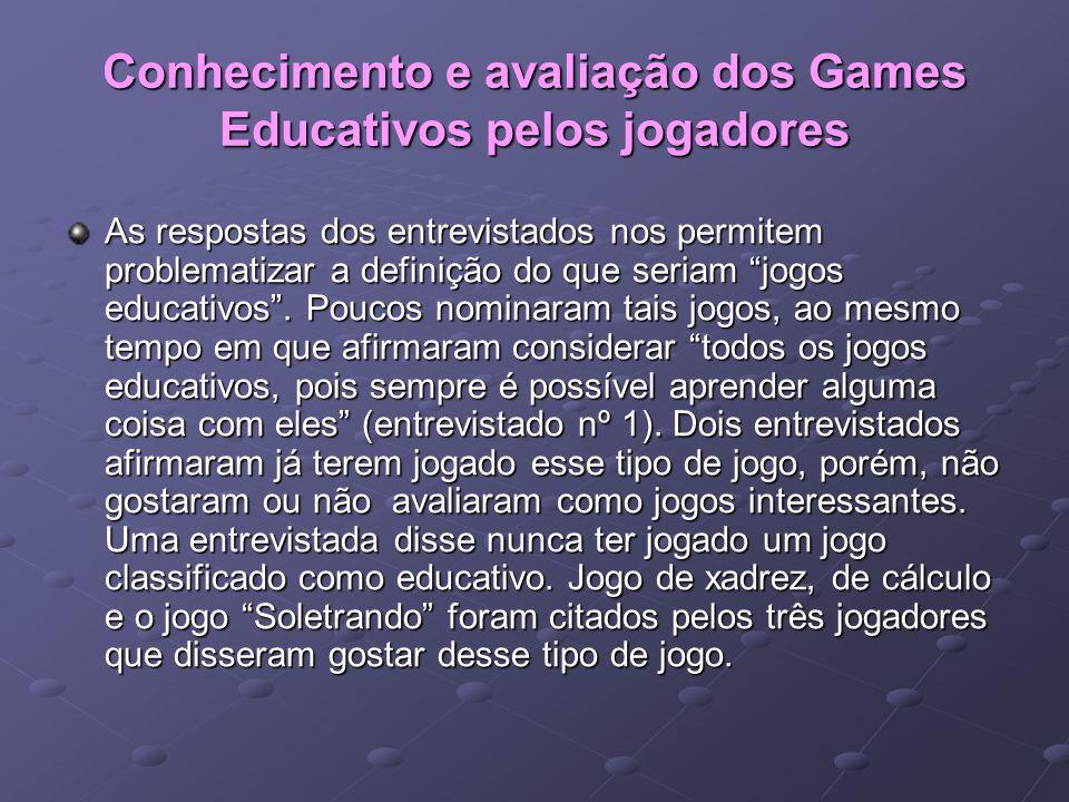 Conhecimento e avaliação dos Games Educativos pelos jogadores