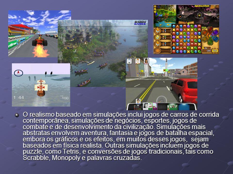 O realismo baseado em simulações inclui jogos de carros de corrida contemporânea, simulações de negócios, esportes, jogos de combate e de desenvolvimento da civilização.