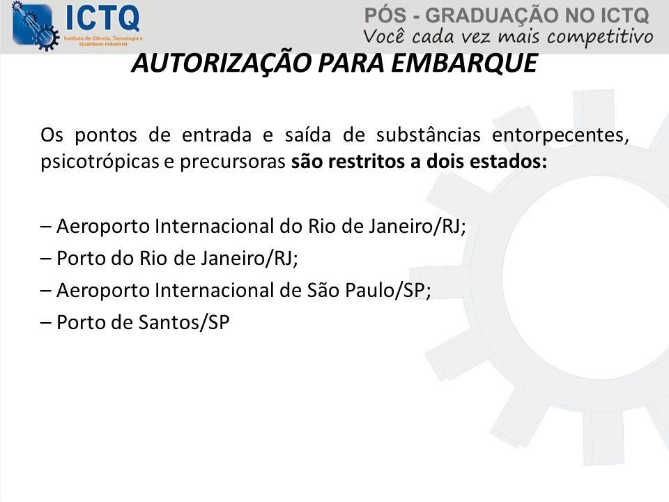 AUTORIZAÇÃO PARA EMBARQUE