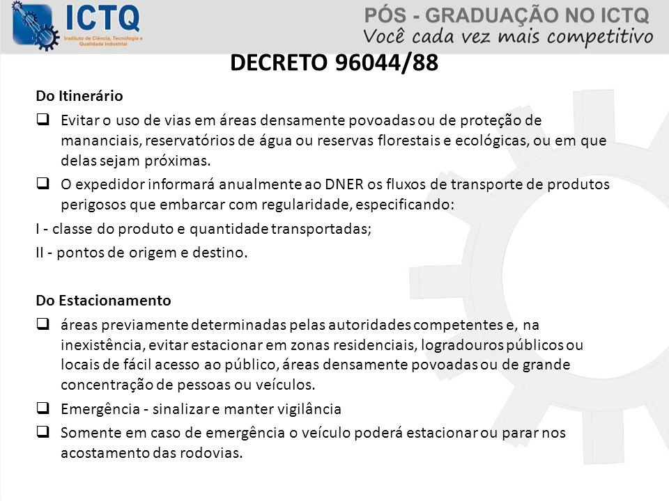 DECRETO 96044/88 Do Itinerário
