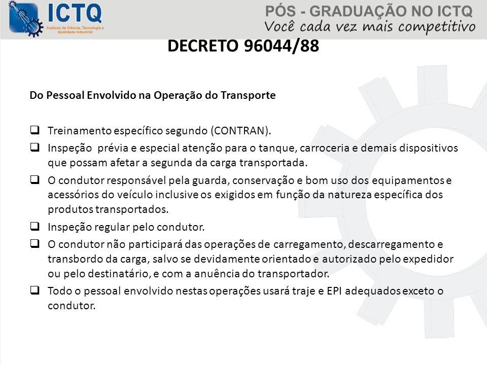 DECRETO 96044/88 Do Pessoal Envolvido na Operação do Transporte