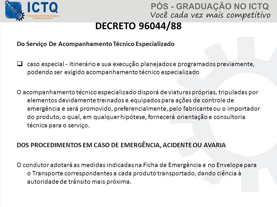 DECRETO 96044/88 Do Serviço De Acompanhamento Técnico Especializado