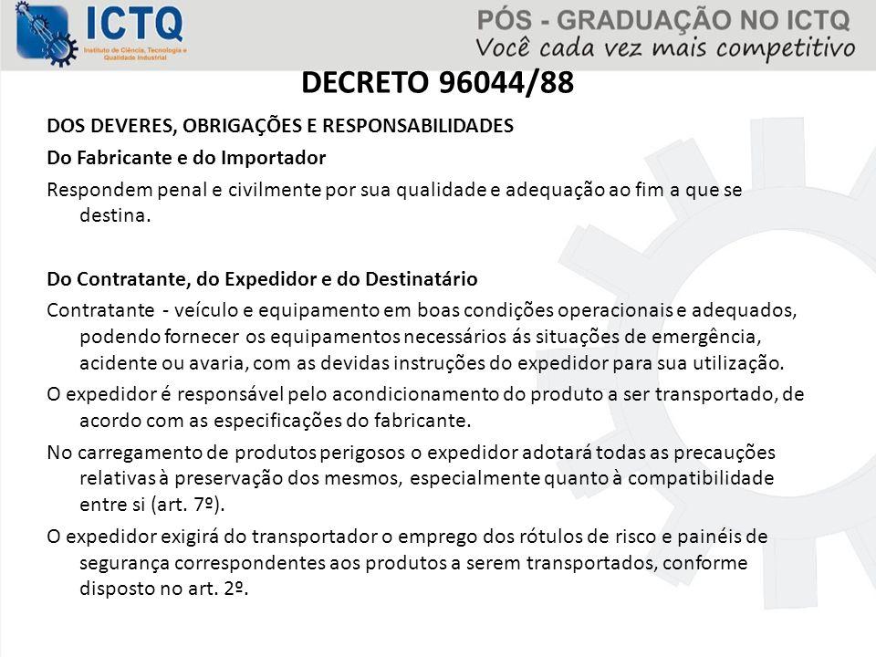 DECRETO 96044/88 DOS DEVERES, OBRIGAÇÕES E RESPONSABILIDADES