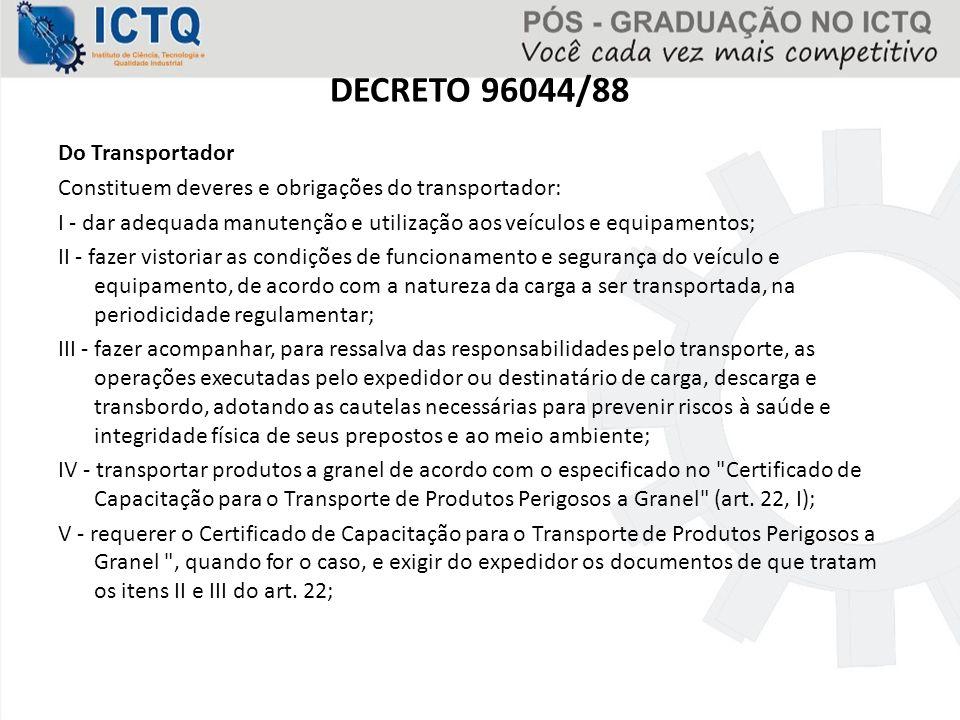 DECRETO 96044/88 Do Transportador