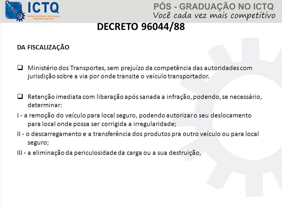 DECRETO 96044/88 DA FISCALIZAÇÃO