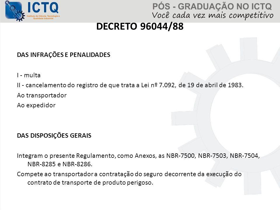 DECRETO 96044/88 DAS INFRAÇÕES E PENALIDADES I - multa