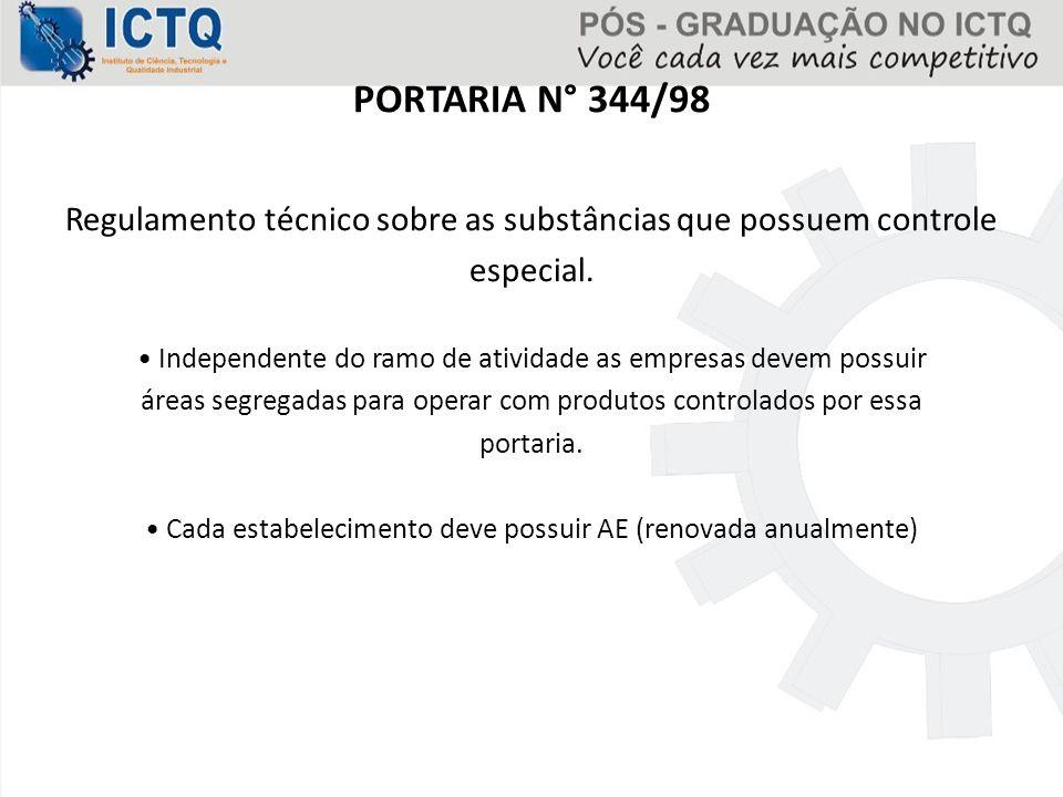 PORTARIA N° 344/98 Regulamento técnico sobre as substâncias que possuem controle. especial.
