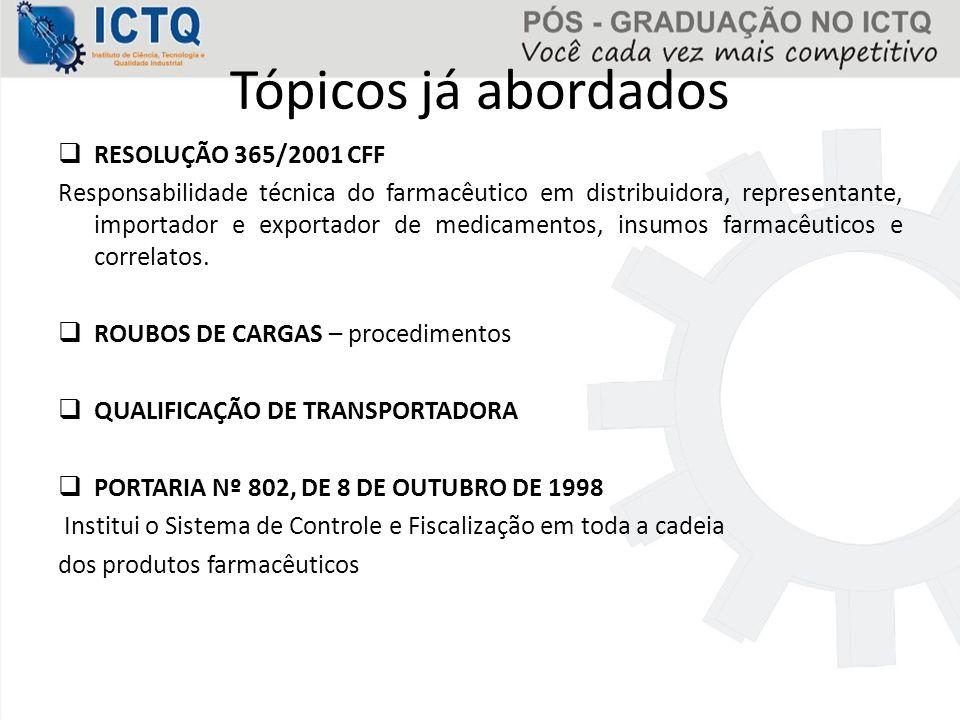 Tópicos já abordados RESOLUÇÃO 365/2001 CFF