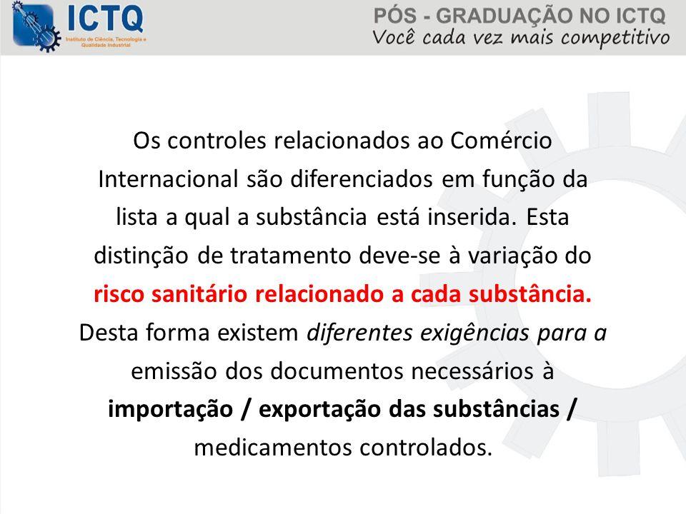 Os controles relacionados ao Comércio Internacional são diferenciados em função da lista a qual a substância está inserida.