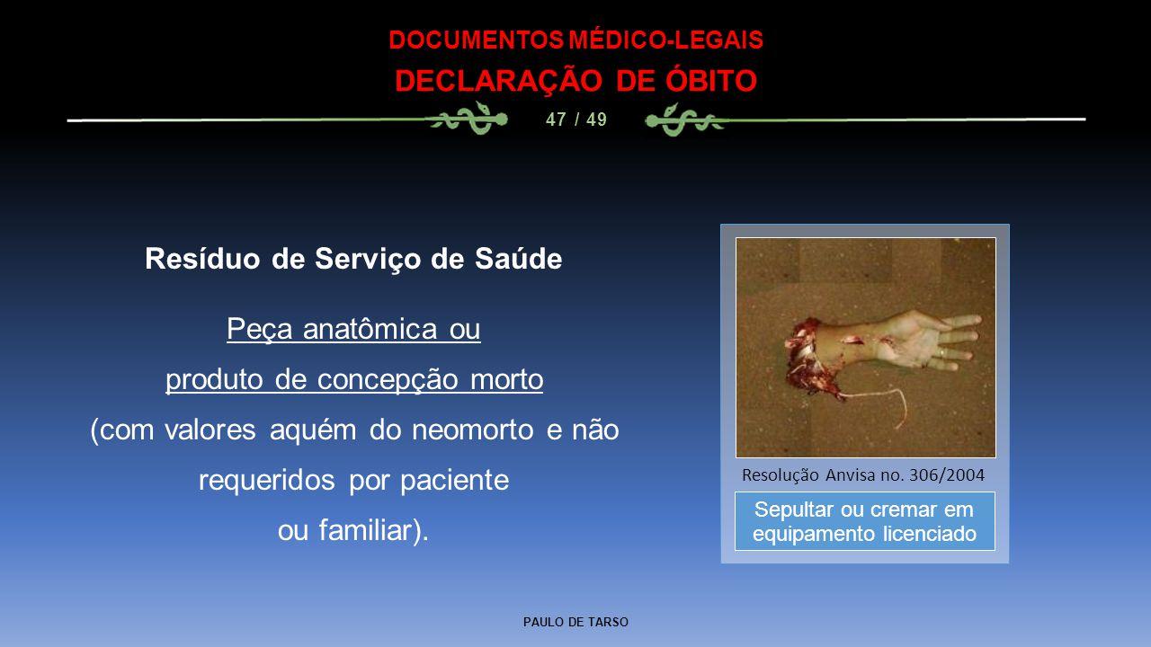 DOCUMENTOS MÉDICO-LEGAIS Resíduo de Serviço de Saúde