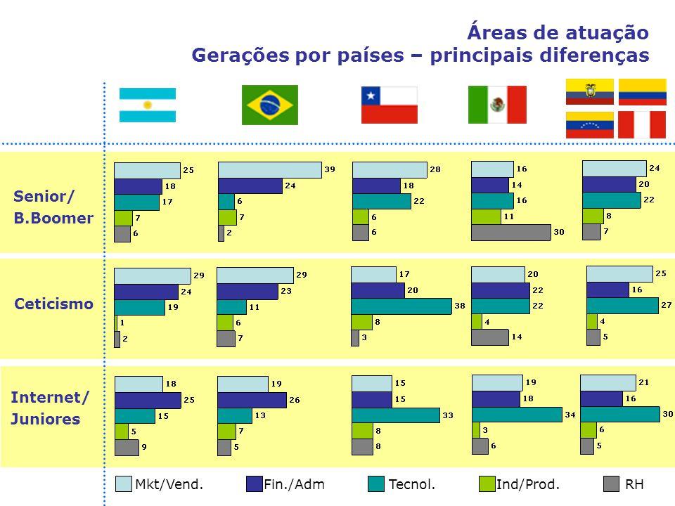 Áreas de atuação Gerações por países – principais diferenças