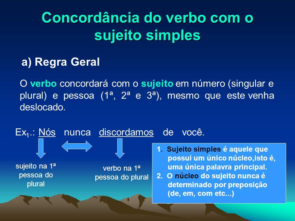 Concordância do verbo com o sujeito simples