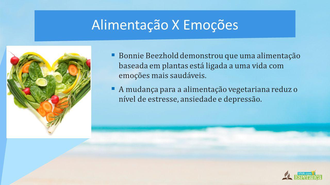 Alimentação X Emoções Bonnie Beezhold demonstrou que uma alimentação baseada em plantas está ligada a uma vida com emoções mais saudáveis.