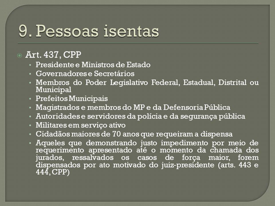 9. Pessoas isentas Art. 437, CPP Presidente e Ministros de Estado