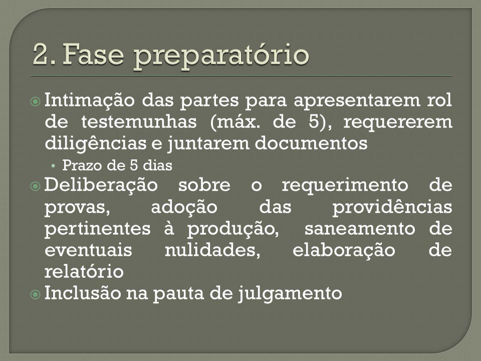 2. Fase preparatório Intimação das partes para apresentarem rol de testemunhas (máx. de 5), requererem diligências e juntarem documentos.
