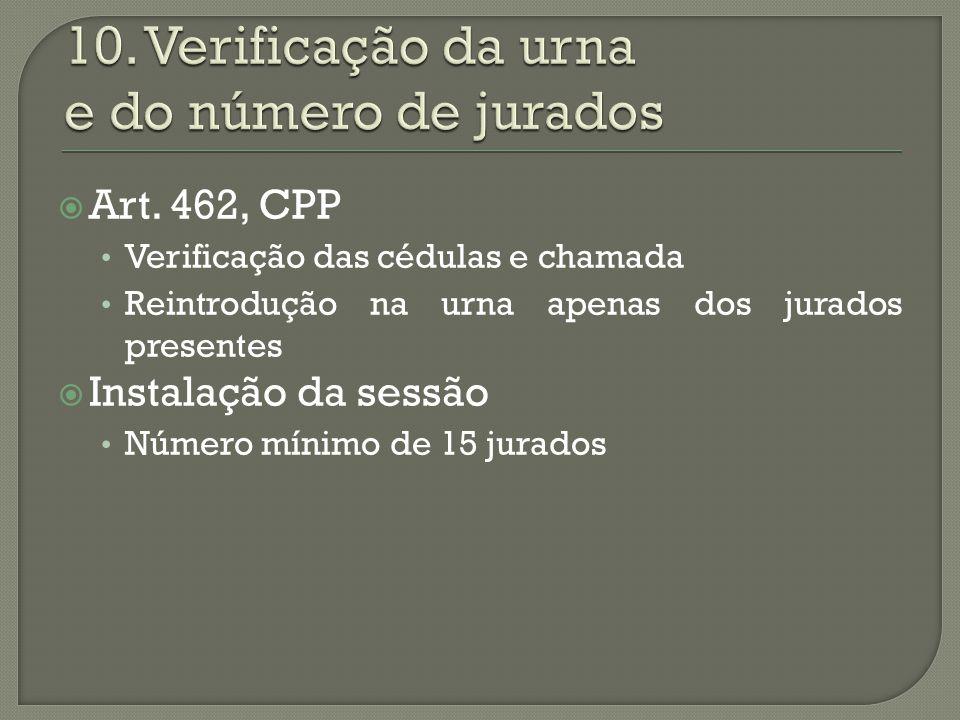 10. Verificação da urna e do número de jurados
