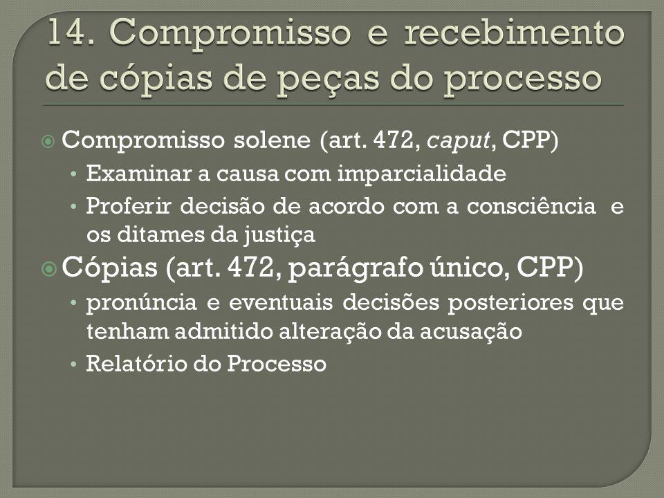 14. Compromisso e recebimento de cópias de peças do processo