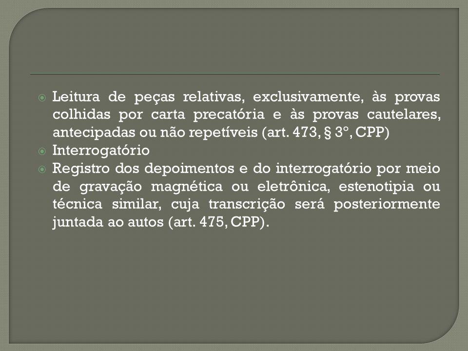 Leitura de peças relativas, exclusivamente, às provas colhidas por carta precatória e às provas cautelares, antecipadas ou não repetíveis (art. 473, § 3º, CPP)