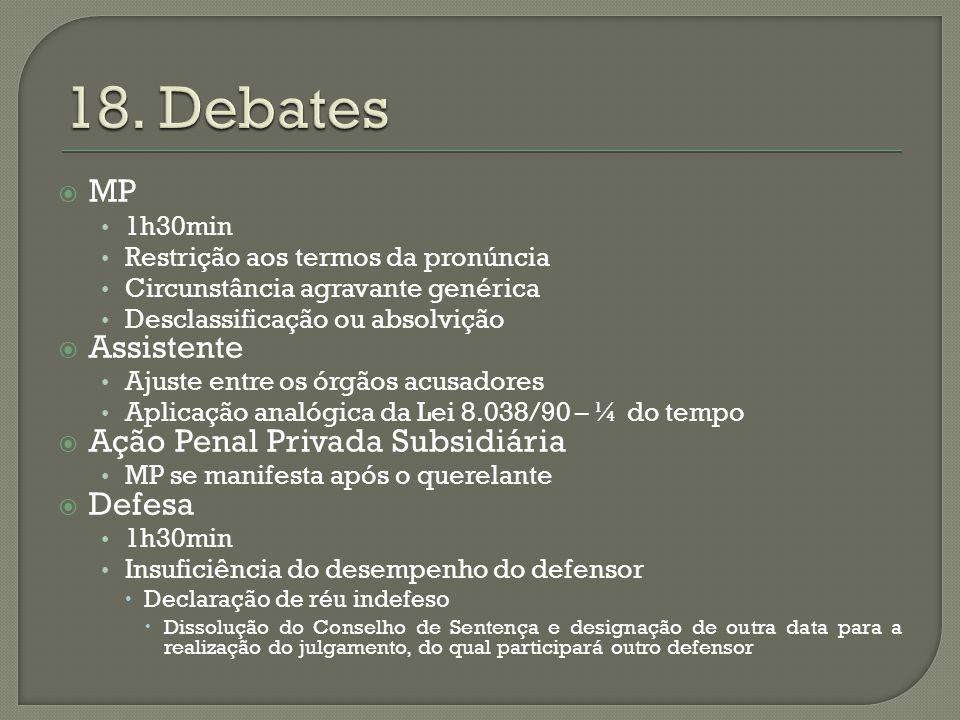 18. Debates MP Assistente Ação Penal Privada Subsidiária Defesa