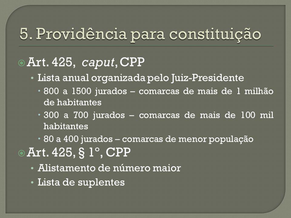 5. Providência para constituição