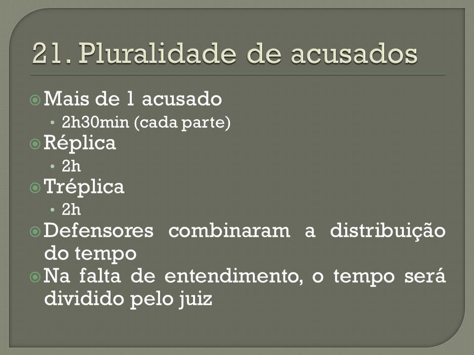 21. Pluralidade de acusados
