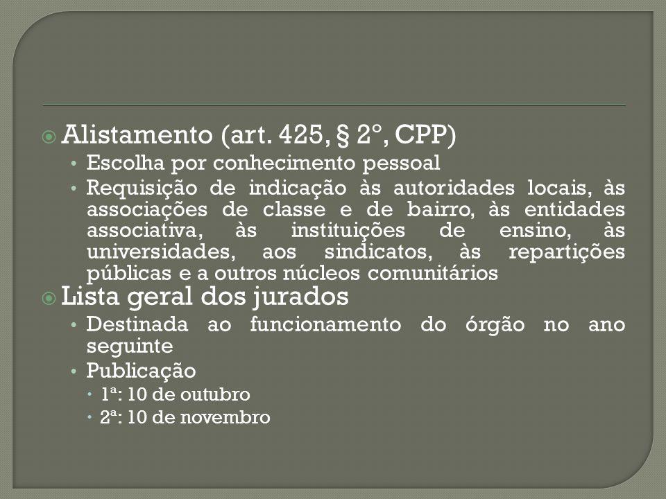 Alistamento (art. 425, § 2º, CPP)