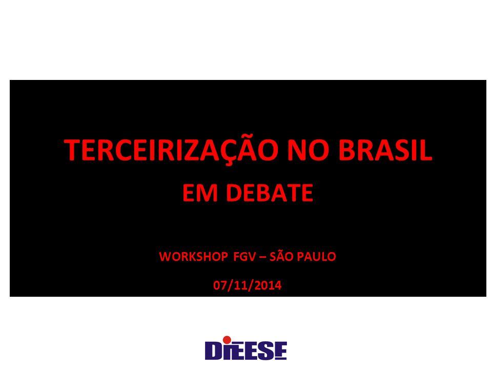 TERCEIRIZAÇÃO NO BRASIL Em debate Workshop FGV – São Paulo 07/11/2014