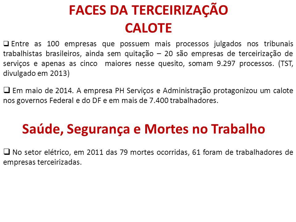 FACES DA TERCEIRIZAÇÃO CALOTE
