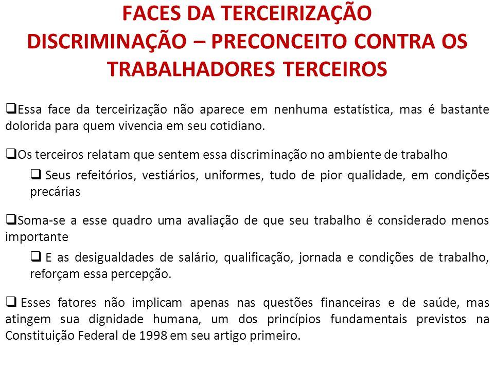 FACES DA TERCEIRIZAÇÃO DISCRIMINAÇÃO – PRECONCEITO CONTRA OS TRABALHADORES TERCEIROS
