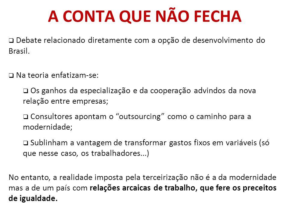 A CONTA QUE NÃO FECHA Debate relacionado diretamente com a opção de desenvolvimento do Brasil. Na teoria enfatizam-se: