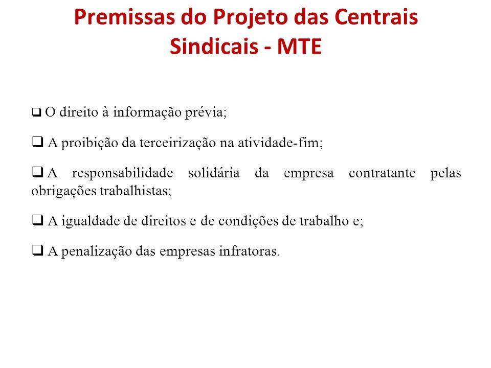 Premissas do Projeto das Centrais Sindicais - MTE