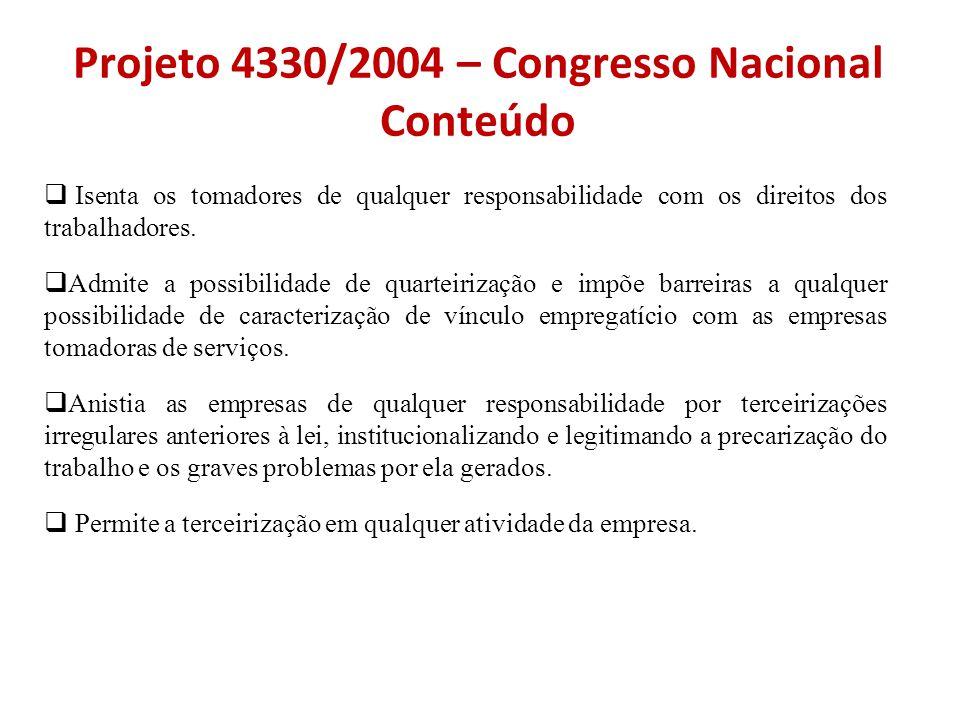 Projeto 4330/2004 – Congresso Nacional Conteúdo