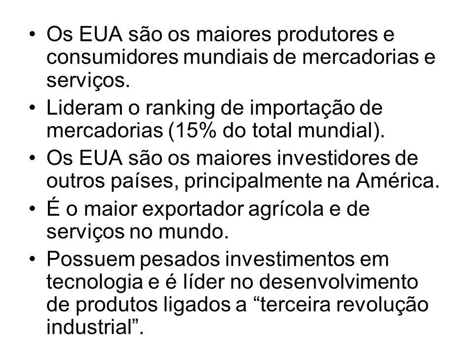 Os EUA são os maiores produtores e consumidores mundiais de mercadorias e serviços.