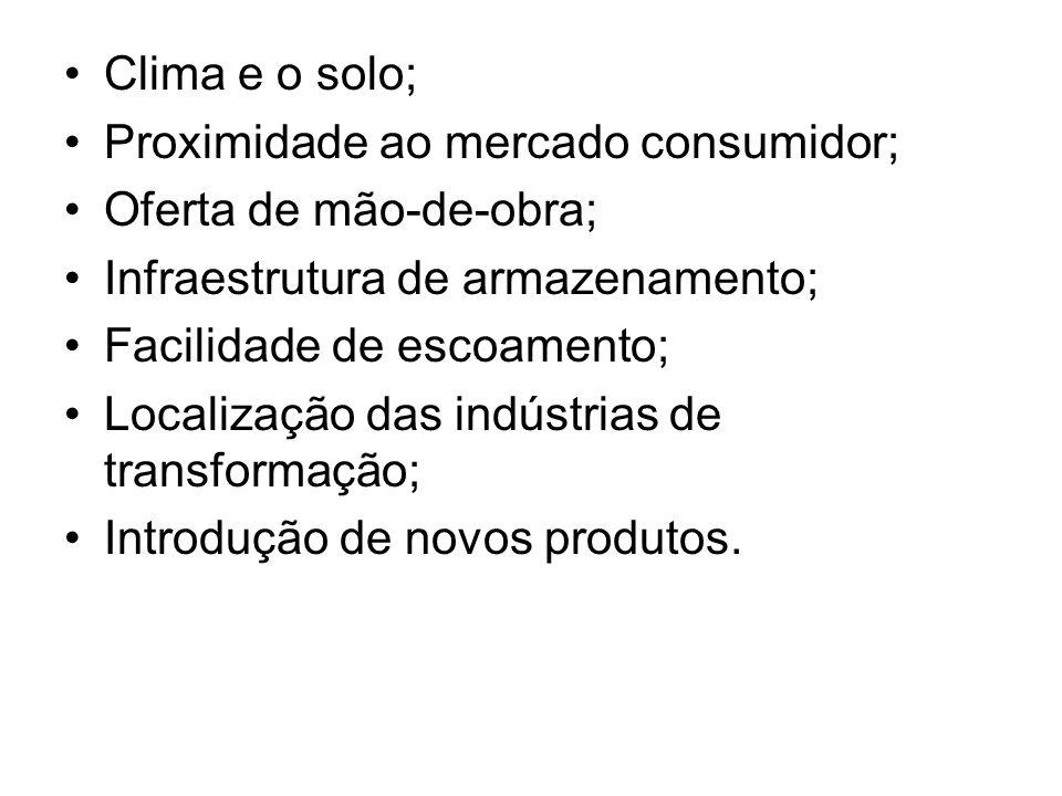 Clima e o solo; Proximidade ao mercado consumidor; Oferta de mão-de-obra; Infraestrutura de armazenamento;