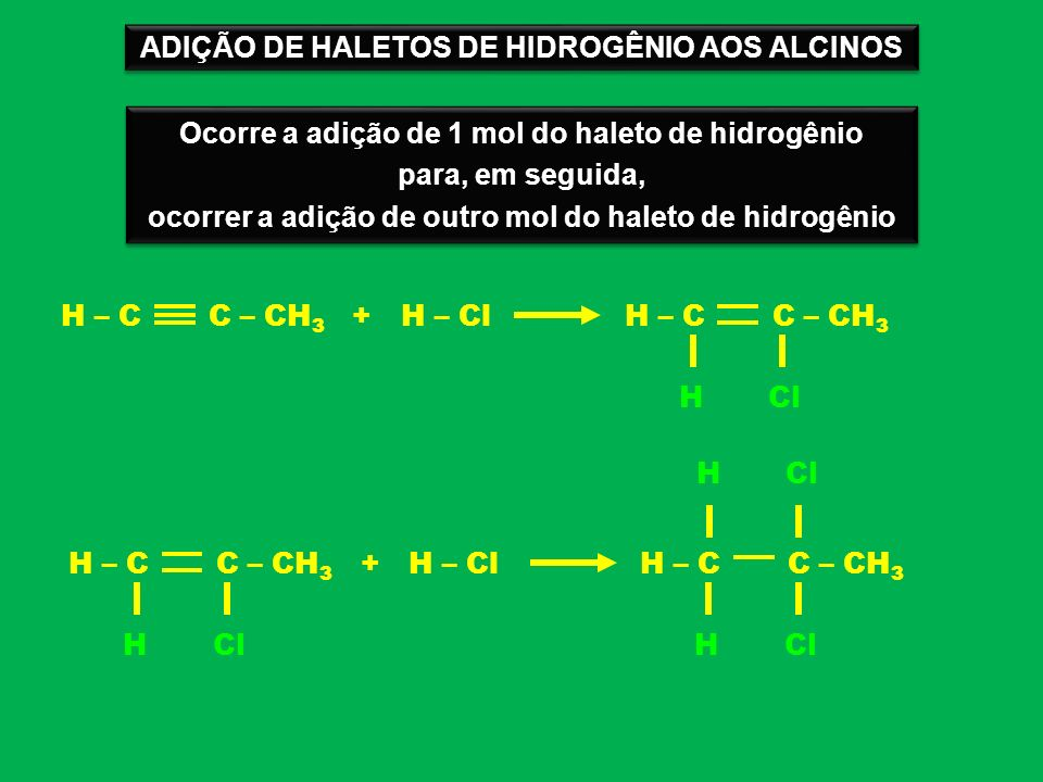 ADIÇÃO DE HALETOS DE HIDROGÊNIO AOS ALCINOS