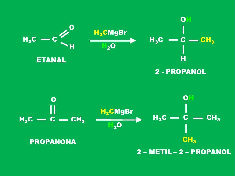 OH. O. H3CMgBr. H3C. C. H3C. C. CH3. H. H2O. ETANAL. H. 2 - PROPANOL. O. H. O. H3CMgBr. H3C. C. CH3.