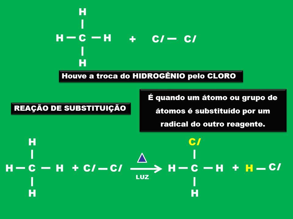 + + H H C H Cl Cl H C H Cl Houve a troca do HIDROGÊNIO pelo CLORO