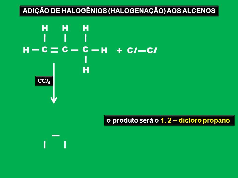 ADIÇÃO DE HALOGÊNIOS (HALOGENAÇÃO) AOS ALCENOS
