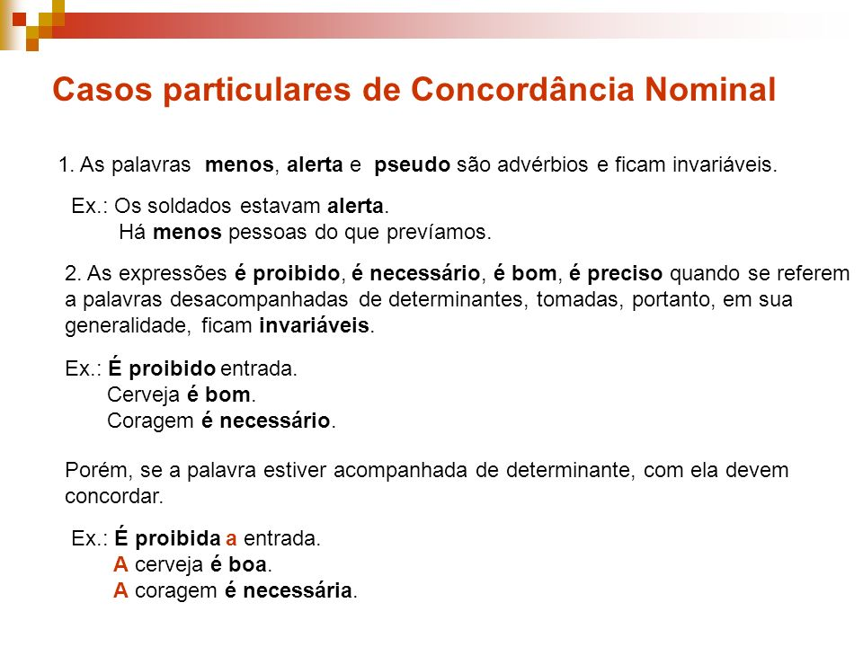 Casos particulares de Concordância Nominal