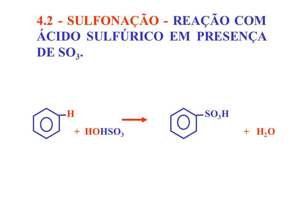 4.2 - SULFONAÇÃO - REAÇÃO COM ÁCIDO SULFÚRICO EM PRESENÇA DE SO3.