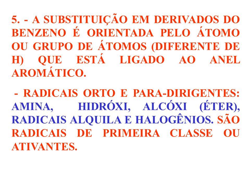 5. - A SUBSTITUIÇÃO EM DERIVADOS DO BENZENO É ORIENTADA PELO ÁTOMO OU GRUPO DE ÁTOMOS (DIFERENTE DE H) QUE ESTÁ LIGADO AO ANEL AROMÁTICO.