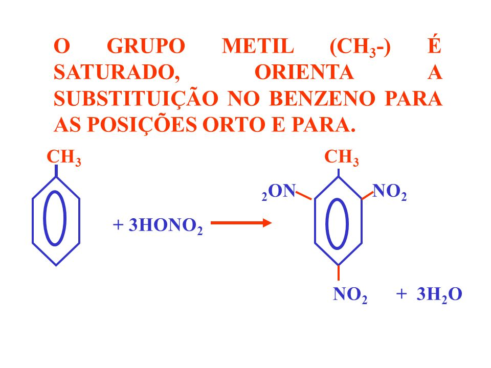 O GRUPO METIL (CH3-) É SATURADO, ORIENTA A SUBSTITUIÇÃO NO BENZENO PARA AS POSIÇÕES ORTO E PARA.