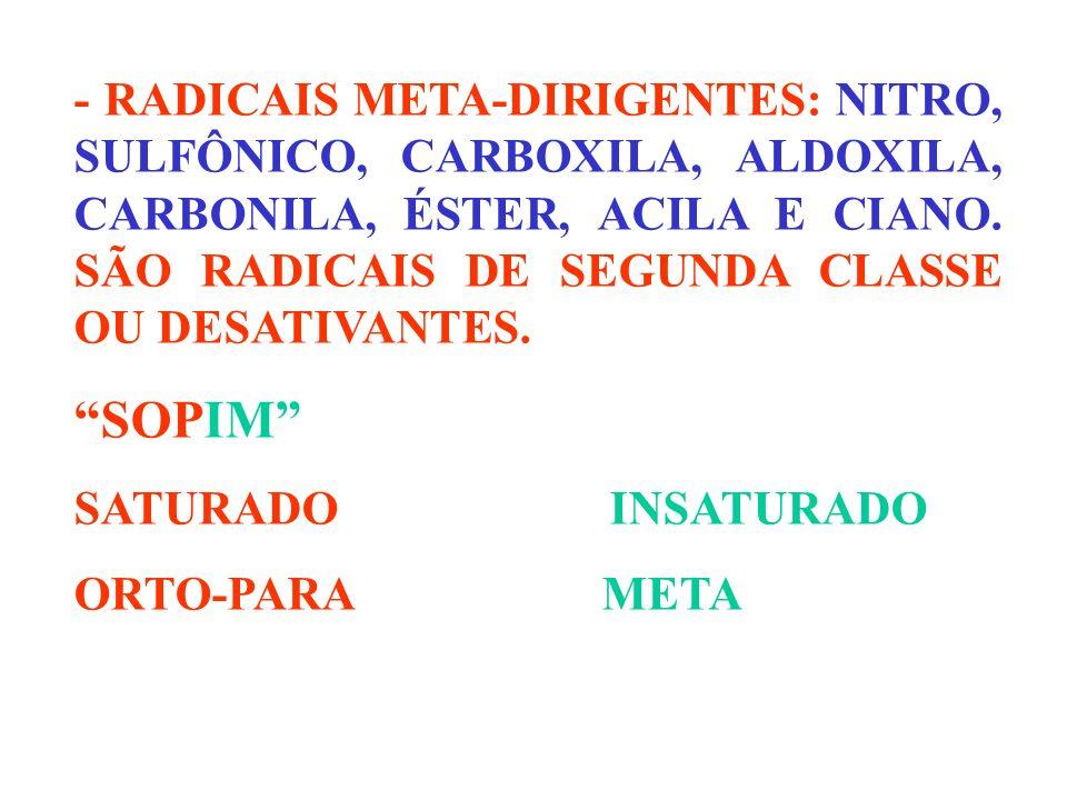 - RADICAIS META-DIRIGENTES: NITRO, SULFÔNICO, CARBOXILA, ALDOXILA, CARBONILA, ÉSTER, ACILA E CIANO. SÃO RADICAIS DE SEGUNDA CLASSE OU DESATIVANTES.