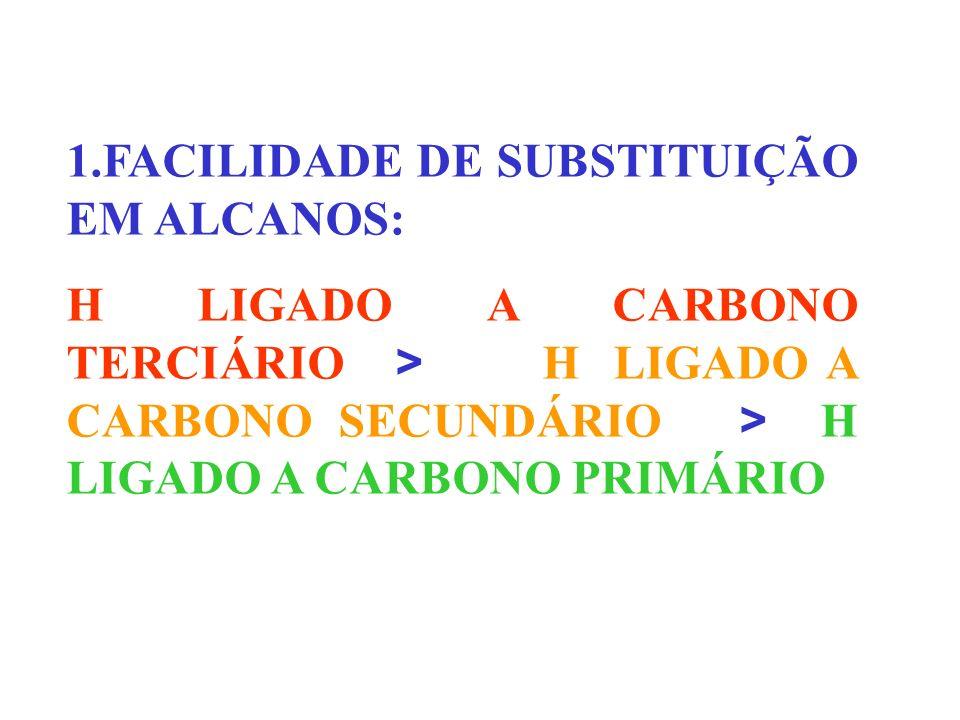 1.FACILIDADE DE SUBSTITUIÇÃO EM ALCANOS: